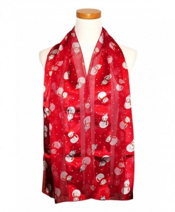 Knitting Factory Christmas Scarf - Snowman and Gingerbread Cookies Design - Red-os3017 - CS187LDOIQ0