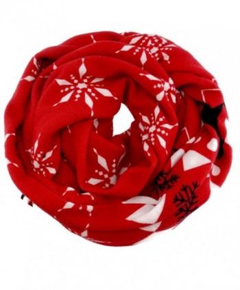 SnowFlake Pattern Winter Infinity Fashion Scarf - Red - CJ12NRGH2IB