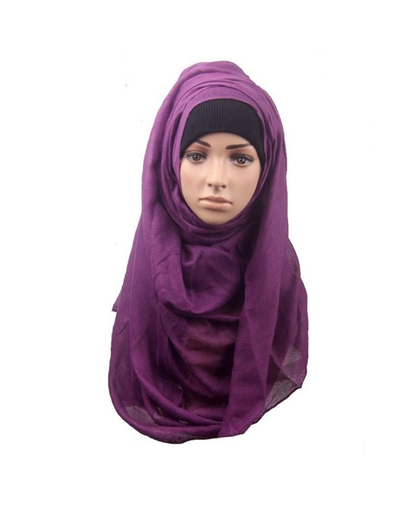 Deamyth Muslim Headscarf Women Shawl Scarf Cotton Head Cover Headscarf Muffler - Purple - CV12O9RXOY2