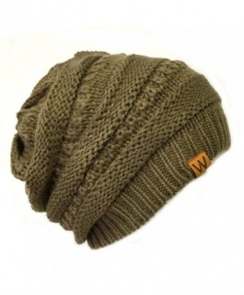 ALLYDREW Winter Thick Knit Beanie Slouchy Beanie for Men & Women - Brown Beaver - CX11VHKK2H5
