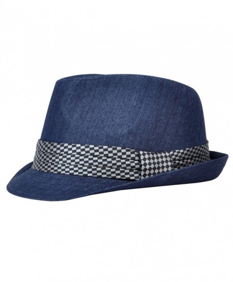 Men's All Season Fashion Wear Fedora Hat - Navy - CV12BP1HH69