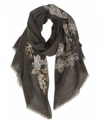 GERINLY Delicate Embroidery Floret Wrap Scarf Gift for Women - Dark Gray - CX1809RK57L