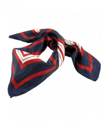 Lady Dark Blue Red White Stripe Print Square Kerchief Neck Scarf Wrap - Dark Blue- Red- White - CX11HZS6425