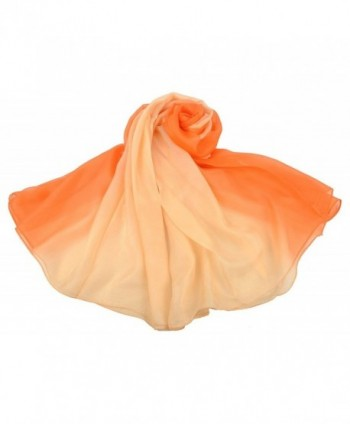 HYACINTH 100% Mulberry Silk Fashion Pattern Gradient Long Scarf - Orange Gradient - CR12O9RV2L6