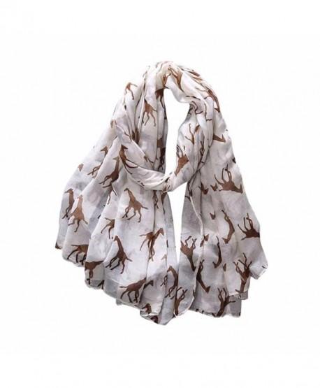 Iusun Women Ladies Giraffe Pattern Long Scarf Warm Soft Wrap Shawl - Beige - CB12O89GF4F