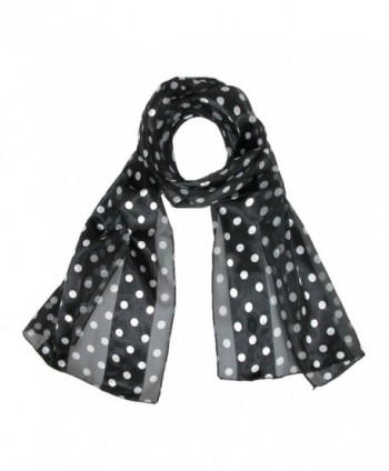 CTM Women's Satin Polka Dot Scarf- Black - CU11047BNEX