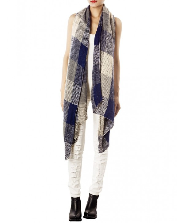 iB-iP Women's Plaid Blanket Stylish Gorgeous Warm Long Cold Weather Scarf Wrap - Navy - CY11HHL3ZH7