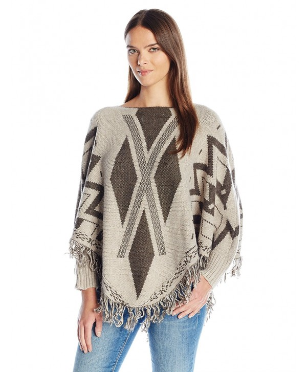La Fiorentina Women's Geometric Poncho with Sleeves and Fringe - Gray - CG12E2RZDHX