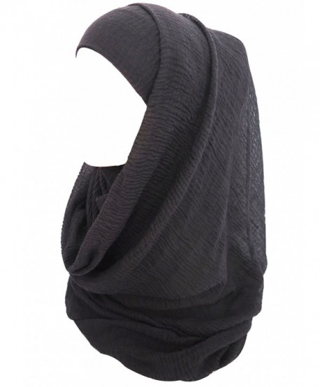 Lina & Lily Solid Color Crepe Crinkled Scarf Hijab with Frayed Edges - Black - CY1838QYQ7K