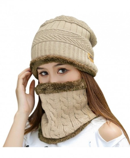 HindaWi Womens Beanie Winter Hat Scarf Set Slouchy Warm Snow Knit Skull Cap - Beige - CR1845A8YKH