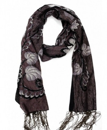 Mary's Gifts Women's Fashion Long Floral Scarf - Charcoal Grey - CL12OCLQ3JW