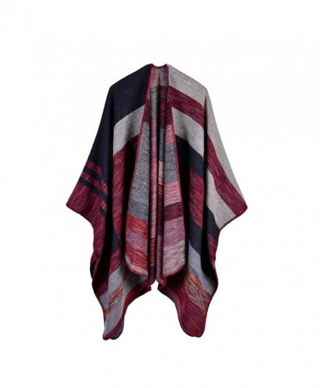 Kool Classic Women Winter Knitted Cashmere Poncho Capes Shawl Cardigans Sweater Coat - Style 5 Wine Red - C91876ZU362