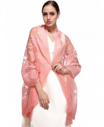 Yueying Printing Silk Scarf Fashion Scarves Long Lightweight Sheer Neck Chiffon Scarf - Pink - CD185NZRHAW