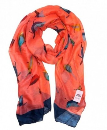 P & R Women's Print Scarves Shawl Large Size180*90cm Voile Soft Wraps - Robin Birds-orange - CC12C3MDF01