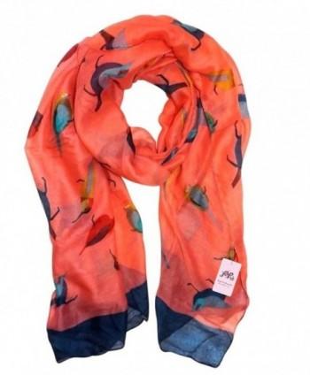 P & R Women's Print Scarves Shawl Large Size180*90cm Voile Soft Wraps - Robin Birds-orange - CC12C3MDF01