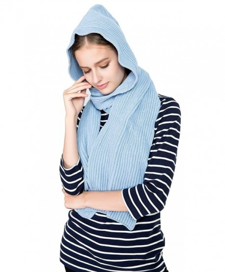 Bellady Winter Knit Hooded Scarf Pullover Headscarf Hoodie Hat - Style2_blue - CY186STYXZ5