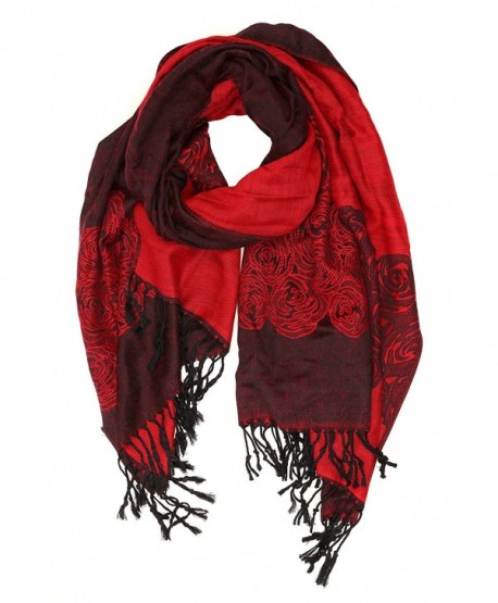 Sakkas Aubry dual colored ranunculus border soft Pashmina/ Shawl/ Wrap/ Stole - Red - CU124TLXJ6J