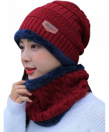 Zoulee Women's and Men's Winter Velvet Thick Knitted Cap With Bib Outdoor Warm Two-piece Suit - Women's Red - C5189K3RHRN