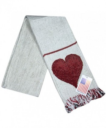 "Manual Unisex Chenille Love Heart White Rib Knit Fringed Scarf ASFLOV 5.5x60"" - CI126EGTON9"