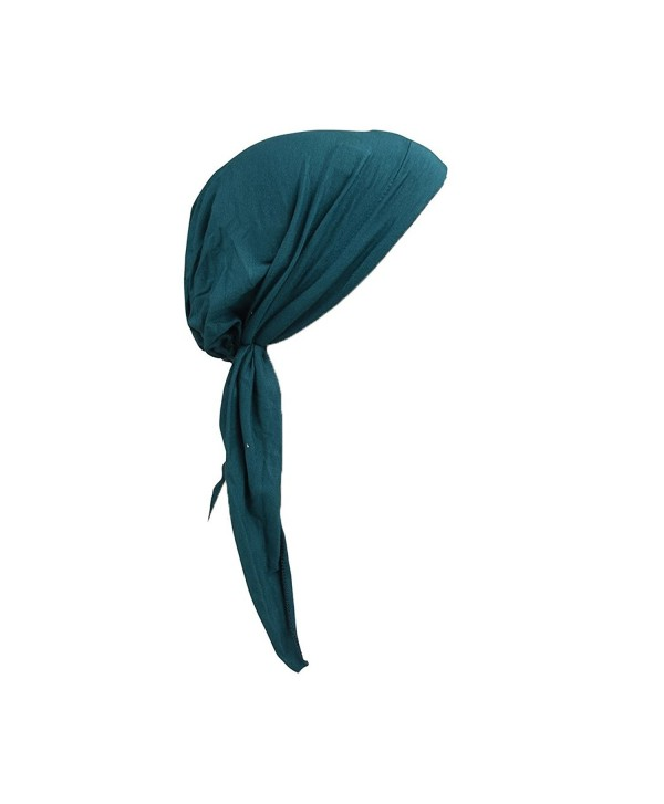 Landana Headscarves Womens Pre Tied Bandana Chemo Cap Soft Cancer Scarf Hair Cover - Dark turquoise - CW182M7WUZ7