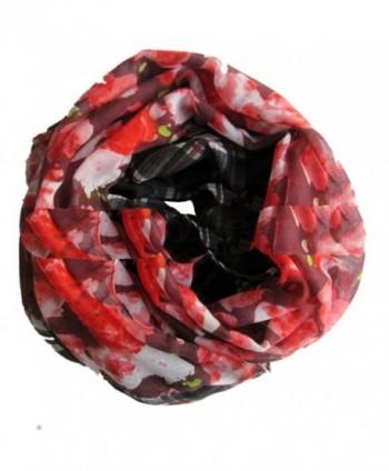 Sexyinlife Dahila Floral Print Plaids Infinity Loop Circle Scarf Red Black - CD11OVDGAG1