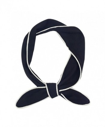 IvyFlair Chiffon Solid Color w/ White Trim Fashion Skinny Neck Scarf Tie Choker - Black - C61850H8A48