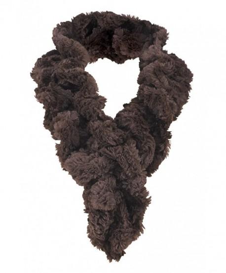 Women's Faux Fur Scarf - Scrunchie Loop Neck Wrap - Brown - CD187U762YY