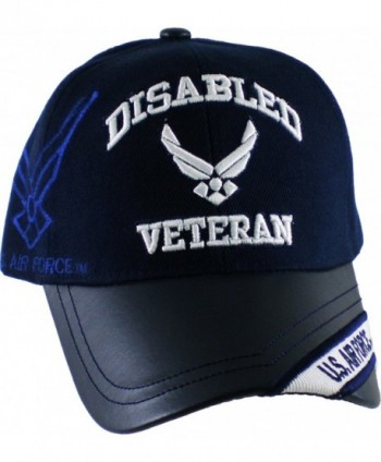 K&S Unique Disabled U.S. Air Force Veteran Vinyl Bill Shadow Mens Cap [Navy Blue - Adjus. - CC1272Z9DLT