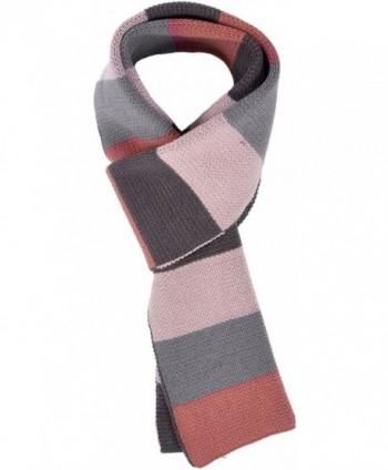 Men & Women's Long Thick Striped Tri-Tone Colored Knit Winter Scarf - Red Blue - CD1884ZK966