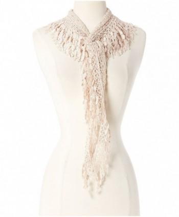 Women Fashion Lightweight Lace Fringe Scarf - Peachpuff - CC12IUZYR11