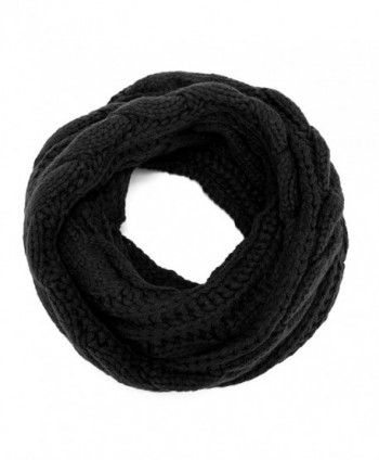 ALLMILL Womens Thick Ribbed Knit Winter Infinity Circle Loop Scarf - Black - CL12K5BP1ZJ