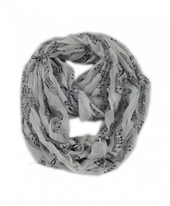Women's Musical Note Pattern Print Loop Infinity Scarf Casual Ladies Shwal - White - CJ11AUR710B