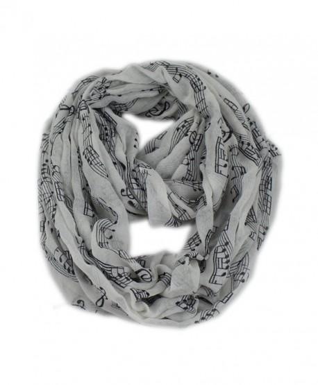 Women's Musical Note Pattern Print Loop Infinity Scarf Casual Ladies Shwal - White - CJ11AUR710B
