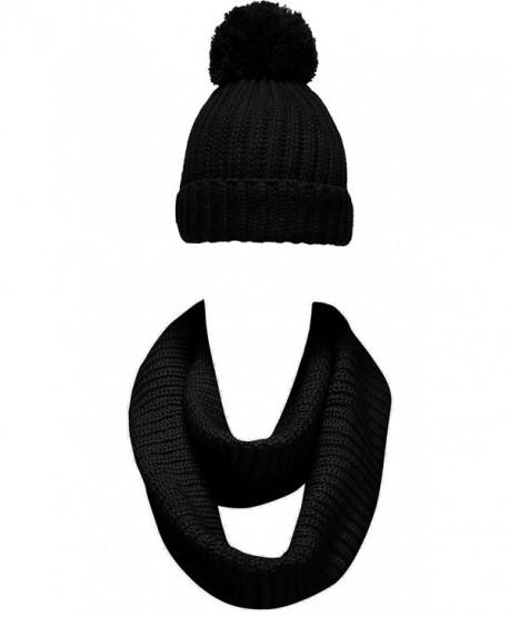 NEOSAN Women Winter Thick Knit Infinity Loop Scarf And Pom Pom Beanie Hat Set - Plain Knit Black - C1184UKQG2N