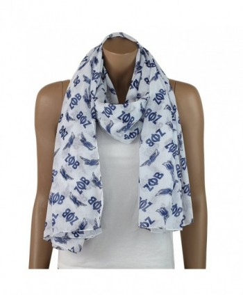 Zeta Phi Beta Oversized Lightweight White and Blue Dove Scarf (36x72 Inches) - C912CA05TKJ