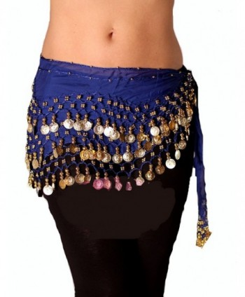 Royal blue Gold Belly Dance Hip Scarf - CS12E0LGWDZ