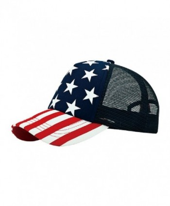 5 Panel Foam Mesh Trucker USA Patriotic Flag Snap Back Baseball Cap - Flag - CN11ATQSG93
