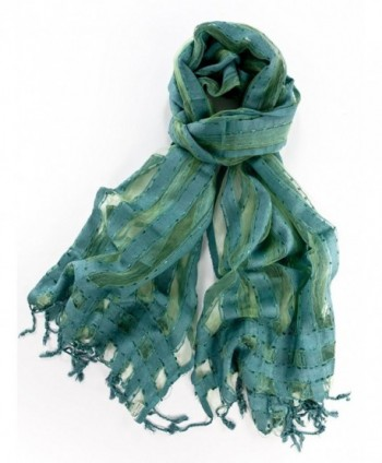 La Purse Sheer Silk Blend Scarf - Teal - CD11BBNJYM7