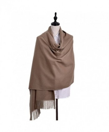 Iristide Womens Scarf Solid Color Winter Warm Wool Thick Large Shawls Wrap(200x78cm) - Khaki - C1187MDL0GR