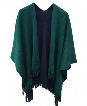 VamJump Women Winter Knitted Cashmere Poncho Capes Shawl Cardigans Sweater Coat - Green - C8128TRN509
