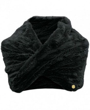 Faux Fur Infinity Neck Warmer Winter Scarf - Black - CN110C3W9TR