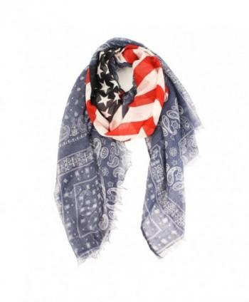 Perisin Paisley Patriotic US America Flag Stars Stripes Summer Scarf Wrap Fringe - CA11VC16ZMP
