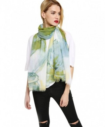 GERINLY Wrap Scarf Summer Womens Fashion Flowers Shawls For Travel - Green - C318C3UNH88