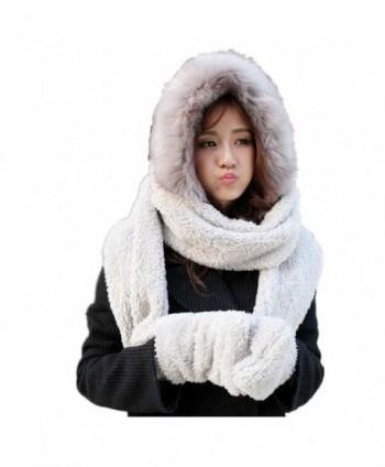 Lucky Beth Winter Warm Women Wool Hat/Scarf/Gloves Set Knitted Hat Scarf Mitten - Gray - CM127D44TZ9