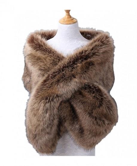 Telamee Womens 2017 Bridal Cape Wedding Wrap Scarves Winter Faux Fur Shawl Stole - B a - C3187NOO03M