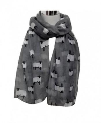 Wensltd Clearance Women Cute Sheep Print Scarf Wraps Shawl Scarf - Gray - C5129UWMWQ5