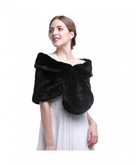 HailieBridal Black Sleeveless Faux Fur Bride Bridesmaid Wedding Bridal Wrap - CQ11U1GHE7H