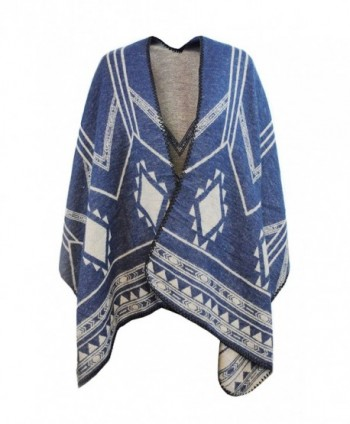Day Wrap Knitted Poncho & Winter Scarf in 1 for Women w/ Overlocked Seams - Blue/Beige - CP189D9LWTG
