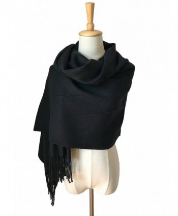 JOSENI Solid Color Pashmina Blanket Scarf Large Winter Wrap Shawl for Women Men - Black - CT1860DSNEW