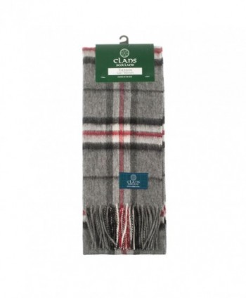 Clans Of Scotland Pure New Wool Scottish Tartan Scarf Thomson Grey (One Size) - C9123H4BB9B